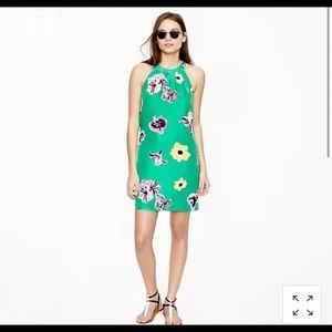 Jcrew swoop green floral dress in size 4